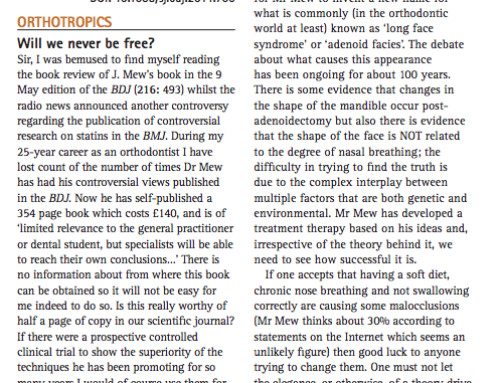 2014/08/22 Letter in BDJ 217, 160 _Orthotropics; Will we never be free__, Dr P.N. Huntley